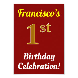Red, Faux Gold 1st Birthday Celebration + Name Card