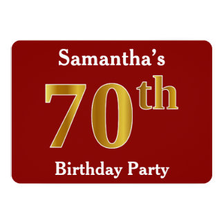 Red, Faux Gold 70th Birthday Party + Custom Name Card