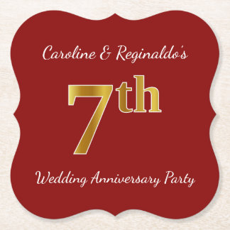 Red, Faux Gold 7th Wedding Anniversary Party Paper Coaster