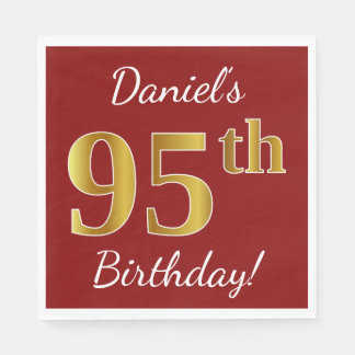 Red, Faux Gold 95th Birthday + Custom Name Disposable Napkins