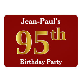 Red, Faux Gold 95th Birthday Party + Custom Name Card