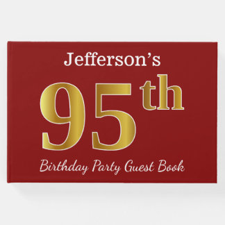 Red, Faux Gold 95th Birthday Party + Custom Name Guest Book