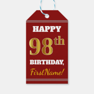 Red, Faux Gold 98th Birthday + Custom Name Gift Tags