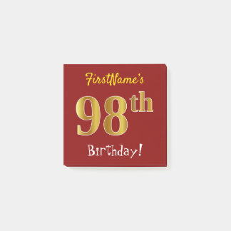 Red, Faux Gold 98th Birthday, With Custom Name Post-it Notes