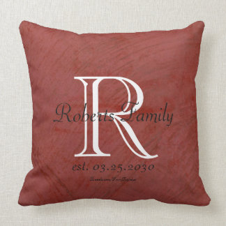 Red Faux Leather Monogram Anniversary Cushion