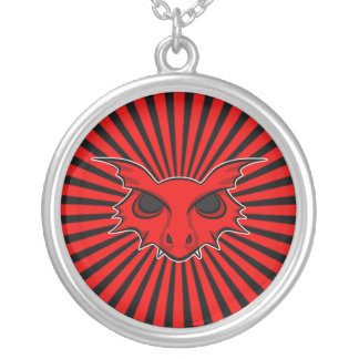 Red Fire Breathing Dragon Round Pendant Necklace