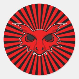 Red Fire Breathing Dragon Round Sticker