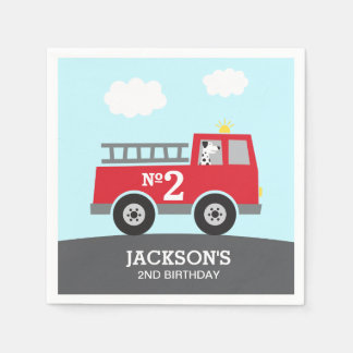 Red Fire Truck Birthday Paper Napkin