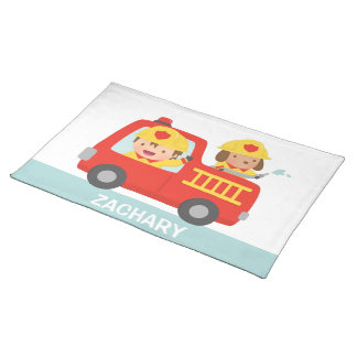 Red Fire Truck with Fire fighter Boy and Puppy Placemat