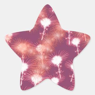 Red Fireworks Star Sticker
