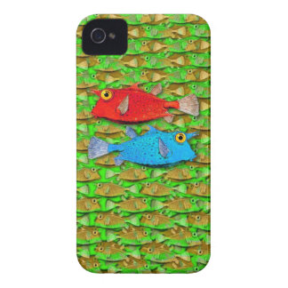 red fish - blue fish - many fish iPhone 4 cases