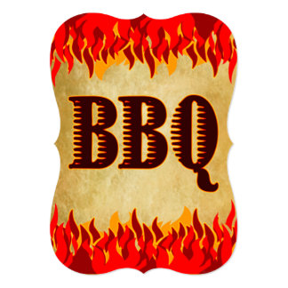 Red Flames Custom BBQ Party Invitation