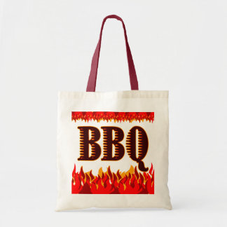 Red Flames Funny BBQ Saying Tote Bag