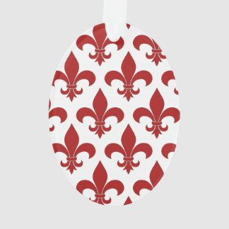 Red Fleur de lis French Symbol Ornament