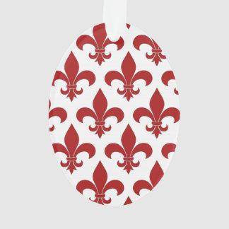 Red Fleur de lis French Symbol Ornament