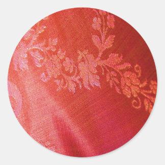 Red Floral Elegance Sticker - Customizable Round Stickers