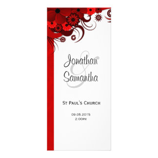 Red Floral Gothic Wedding Program Templates Rack Card