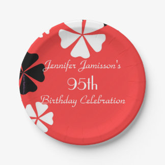 Red Floral Paper Plates, 95th Birthday Party 7 Inch Paper Plate