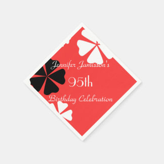 Red Floral Personalized 95th Birthday Party Paper Serviettes