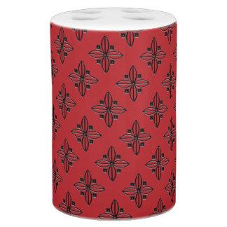 Red Floral Toothbrush Holder & Soap Dispenser Set