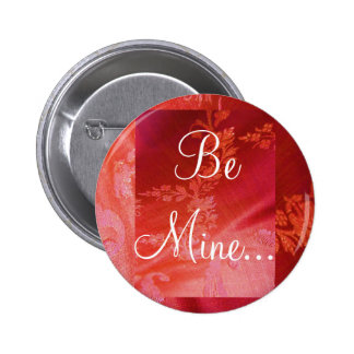 Red Floral Valentine I Button - Customizable Pinback Button