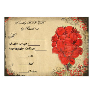 Red Floral Vintage Wedding RSVP Announcements