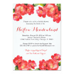 Red Floral Watercolor Bridal Shower Invitation