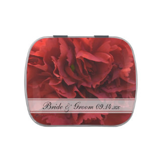 Red Floral Wedding Favor Candy Tins