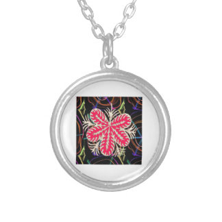 RED Flower Custome Template ADD Text move img fun Silver Plated Necklace