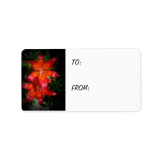 Red Flower Gift Label Address Label