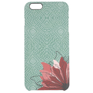 Red flower petals on tribal pattern clear iPhone 6 plus case