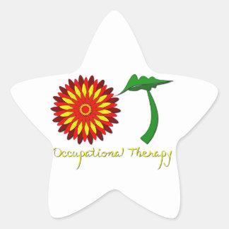 Red Flower Power Star Sticker
