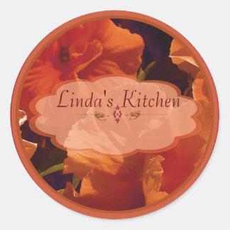 red flower spice jar labels round sticker
