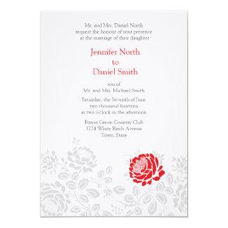 Red Flower Wedding Invitaitons 13 Cm X 18 Cm Invitation Card