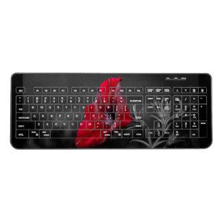 Red flower wireless keyboard