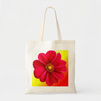 Red Flower with Yellow Background Bag