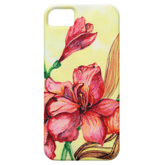 Red Flowers Sketch iPhone 5 Cases