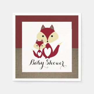 Red Fox Burlap Baby Shower Disposable Napkin