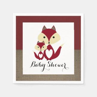 Red Fox Burlap Baby Shower Paper Serviettes
