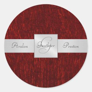 Red Garnet Monogram Wedding Sticker