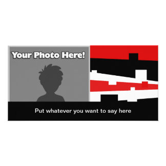 Red Geometric Striped Personalized Photo Card