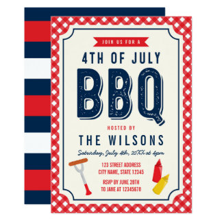 Red Gingham and Blue 4th of July BBQ Card