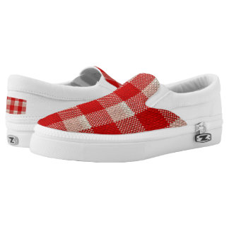 Red Gingham Checkered Pattern Burlap Look Slip-On Shoes