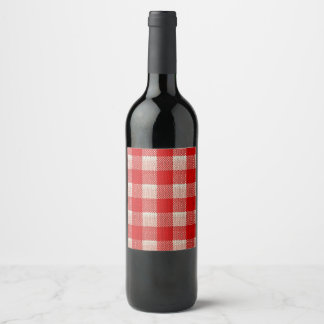 Red Gingham Chequered Pattern Burlap Look Wine Label