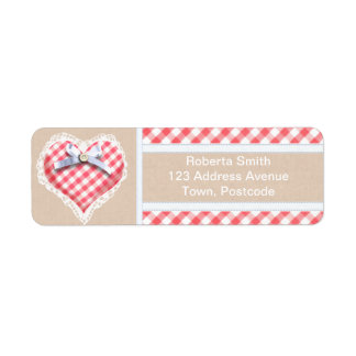 Red Gingham Heart with bow graphic Return Address Label