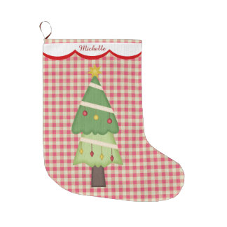 Red Gingham Holiday Tree Personalised Large Christmas Stocking