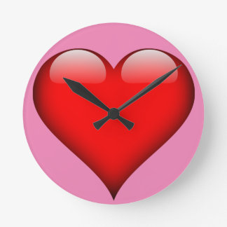 Red Glass Heart Customizable Round Clock