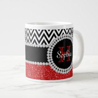 Red Glitter B & W Chevrons Monogrammed Jumbo Mug 20 Oz Large Ceramic Coffee Mug