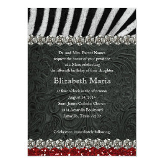 Red Glitter Black Zebra Quinceanera Invitation