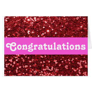 Red Glitter Congratulations Greeting Card